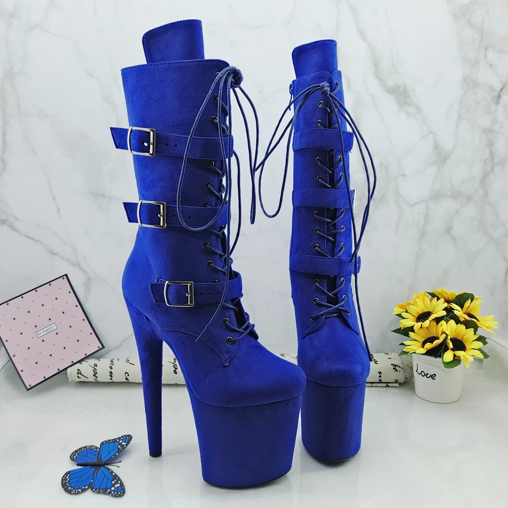 Leecabe Suede Blue 20CM/8inches Pole dancing shoes High Heel platform Boots closed toe Pole Dance booties with buckle
