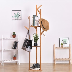 Bamboo Coat Rack 8 Hooks Clothes Scarf Hat Holder Standing Tree-shaped Storage Rack Organizer Clothing Flower Shoes Stand Shelf