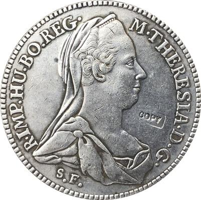 1780 Austria 1 Konventionsthaler coins copy 41MM