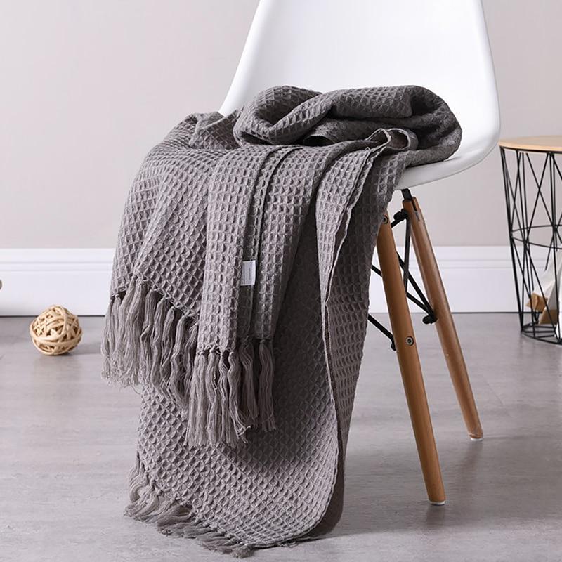 Manta de lana tejida, manta de Color sólido con relieve de gofres, manta de decoración nórdica para sofá cama, toalla, capa de manto