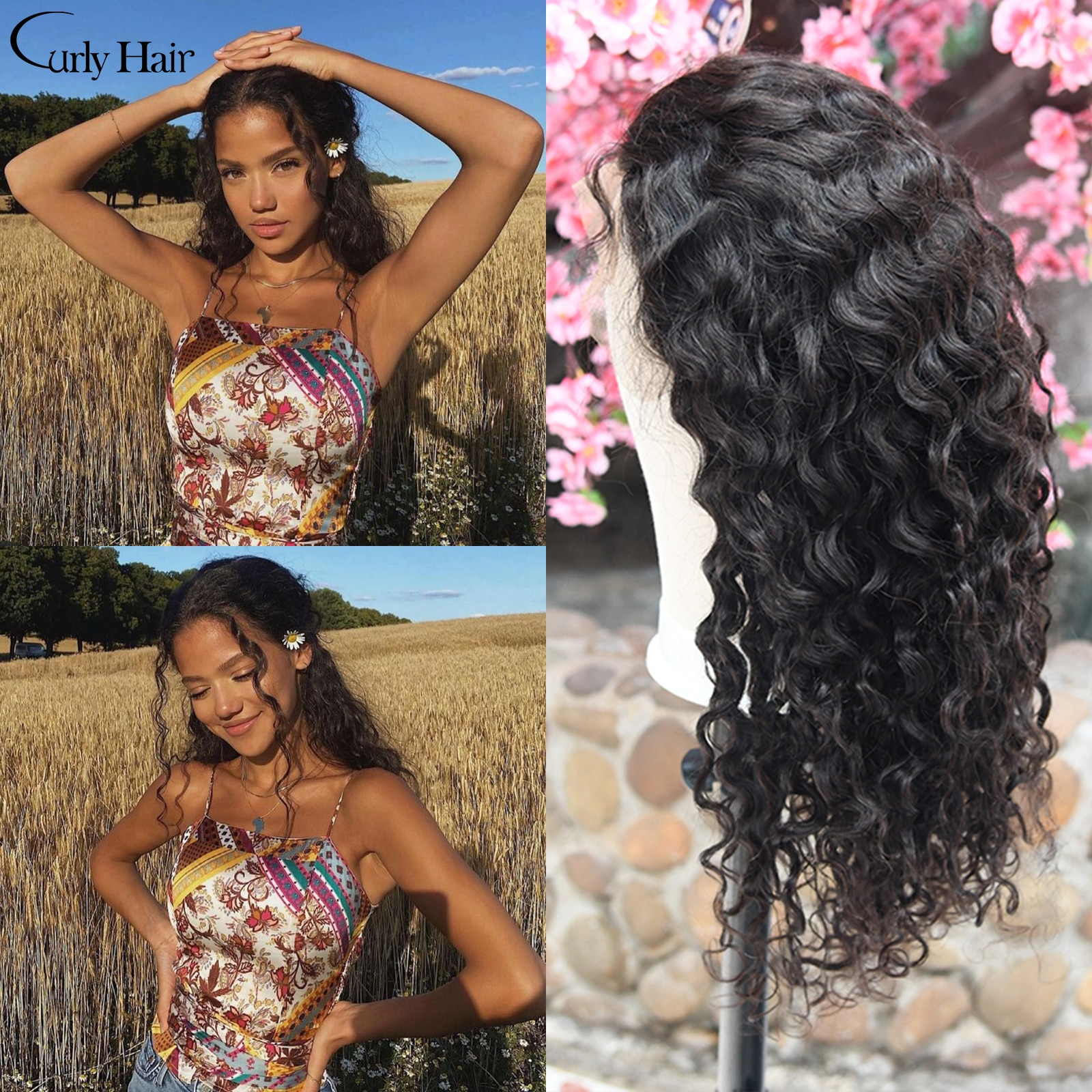 Curly Wave Lace Front Human Hair Wigs 13x4 Brazilian Human Hair 26 28 Inch 180% Density Natural Lace Frontal Wig For Black Women