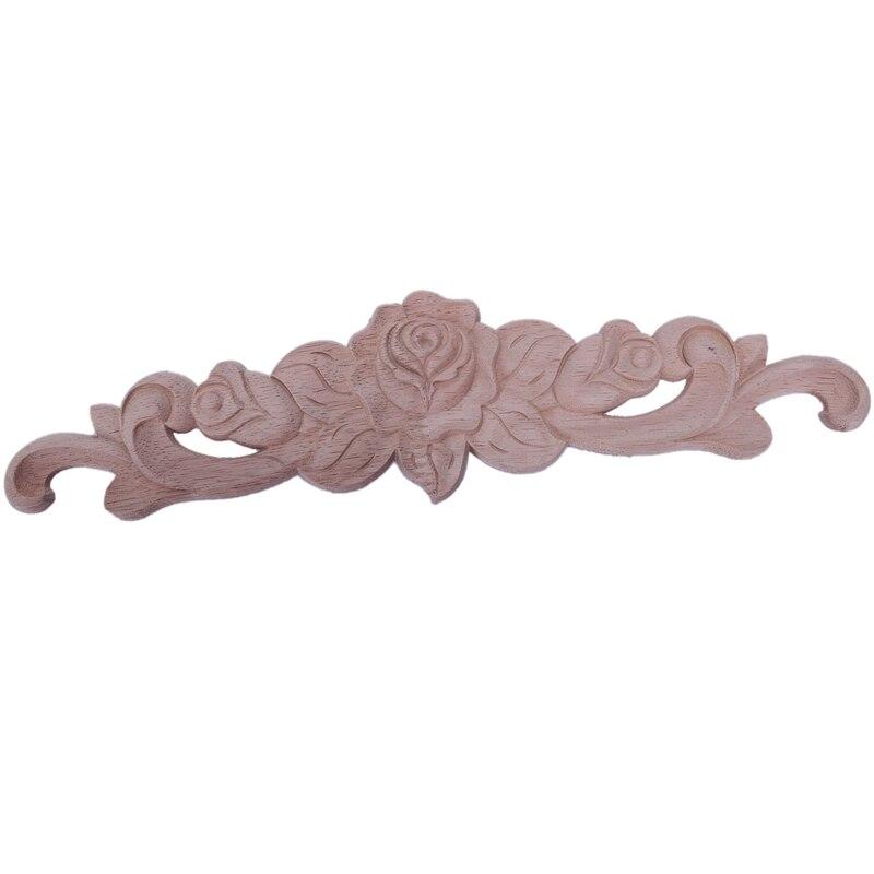 30*7cm de madeira esculpida canto onlay applique decoração móveis artesanato sem pintura bugigangas decorativas (30*7cm)