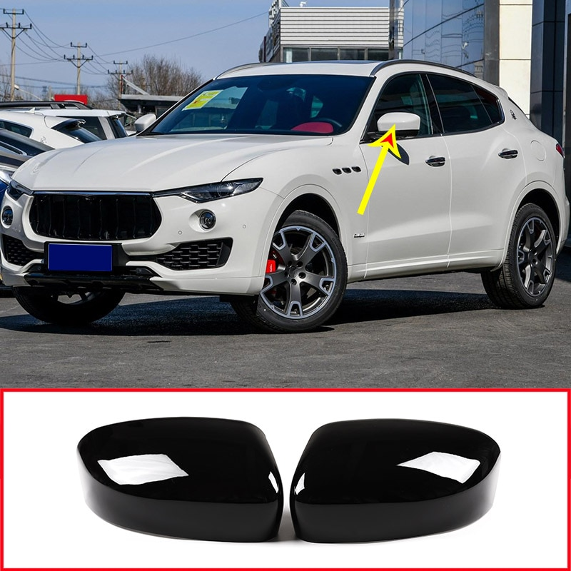 2 x cubierta negra brillante del espejo retrovisor del lado del coche accesorios para Maserati Levante 2016 2017 2018 2019