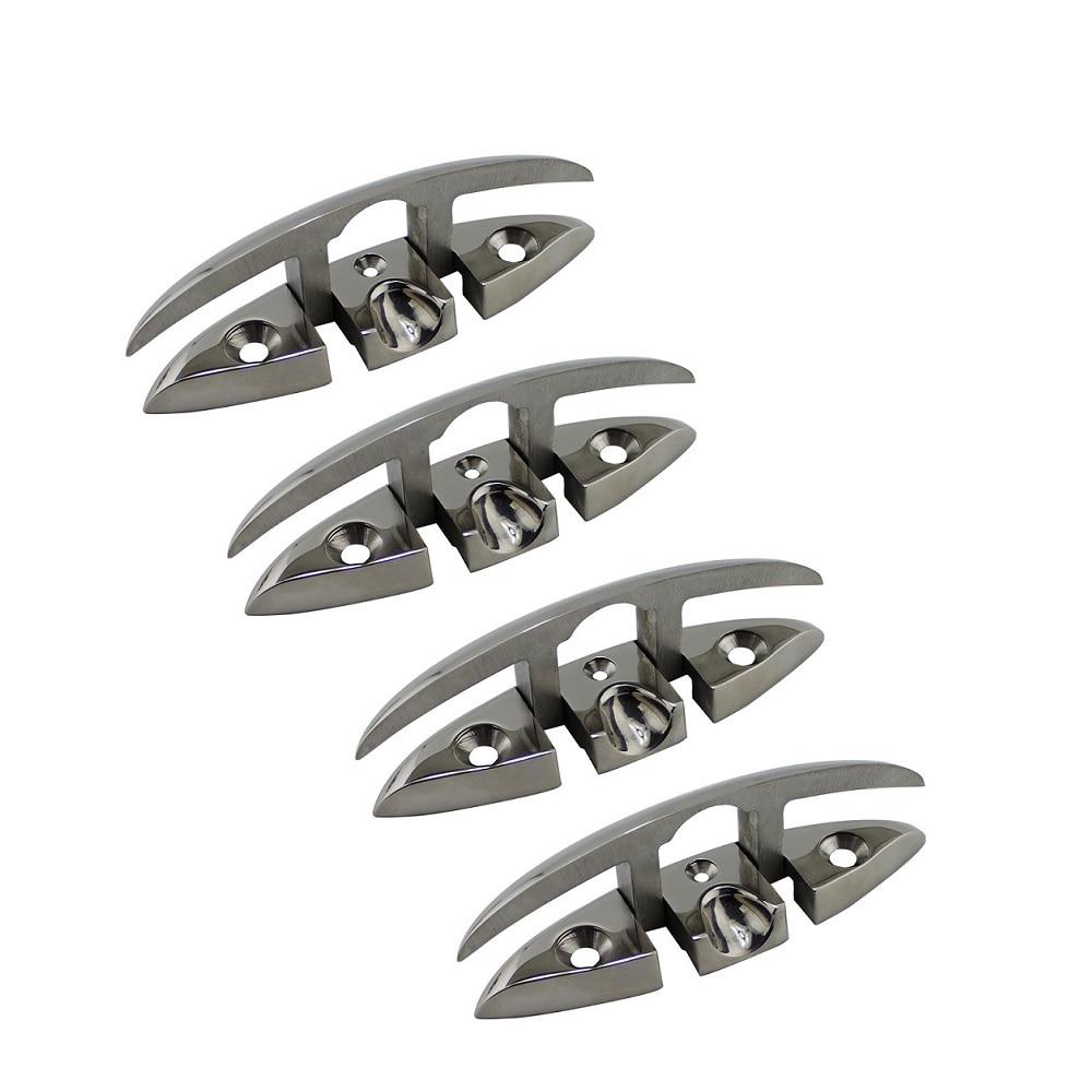 4 قطعة الفولاذ المقاوم للصدأ المربط معدات بحرية قابلة للطي قارب المرابط للطي سطح السفينة المربط اكسسوارات للقوارب أجزاء