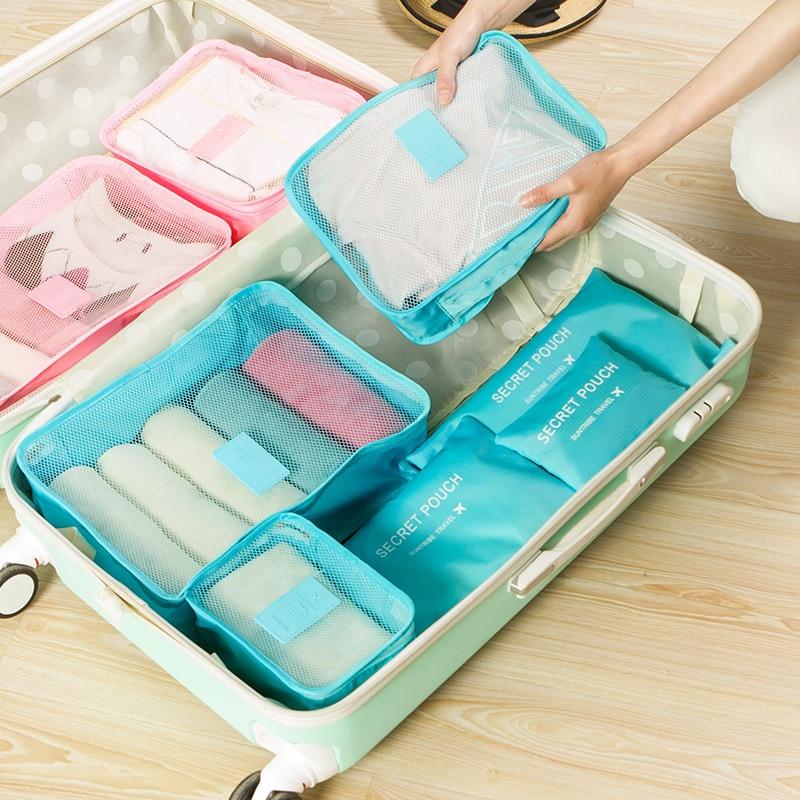 Bolsa Storgage, conjunto de seis piezas, bolsa de ropa a prueba de polvo, carpetas organizadoras de equipaje, ropa interior de exportación, paquete clasificado, 6 combinaciones