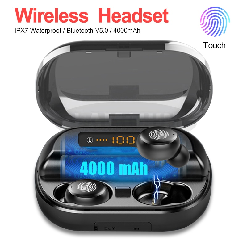 Auriculares inalámbricos Bluetooth 5,0 IPX7, Auriculares deportivos estéreo 9D resistentes al agua con batería externa de 4000mAh, Auriculares Bluetooth TWS