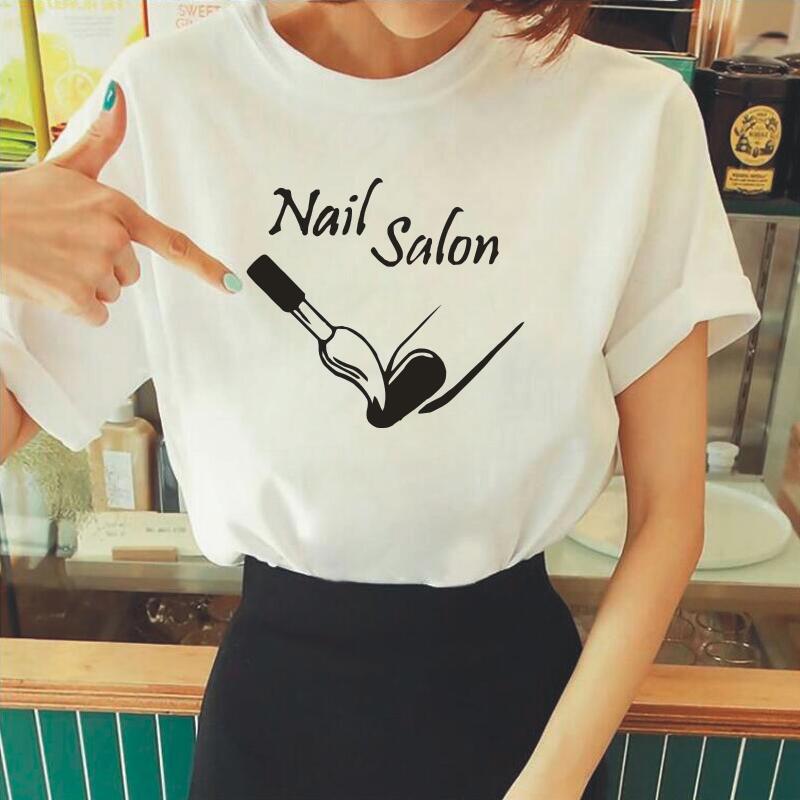 Harajuku-Camiseta de algodón de manga corta para Mujer, blusa de moda para...