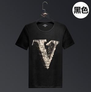 Letter Rhinestones T Shirts Men Brand Short Sleeve Fashion Man Streetwear O Neck Slim Modal Cotton Tshirts Plus Size