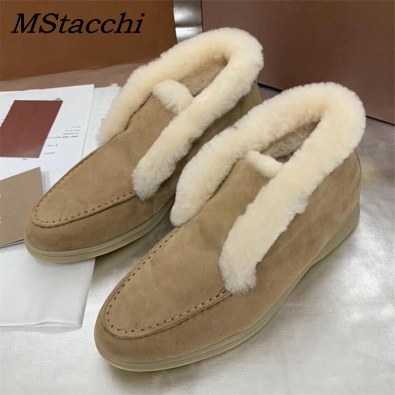 Mstafchi النساء الدافئة الجلد المدبوغ حذاء من الجلد للنساء مريحة الانزلاق على حذاء مسطح شيك السيدات الجلد الحقيقي الصوفية الثلوج بوتاس موهير