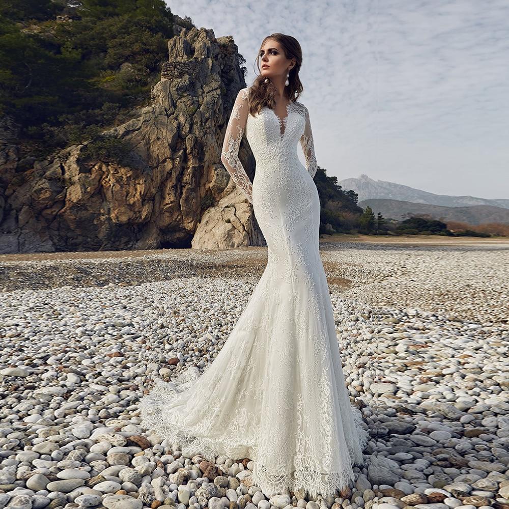 Custom Made Long Sleeve Lace Mermaid Wedding Gowns Vestido De Novia Sirena Renda Sexy Open Back Elegant Dresses Robe Mariee