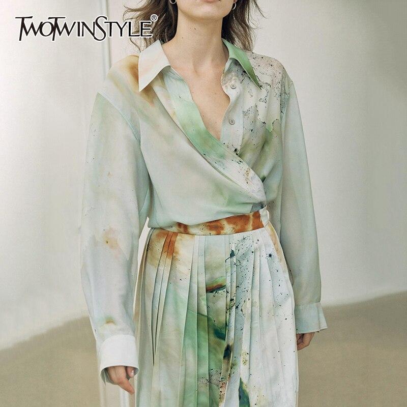 Twotwinstyle impressão elegante solto blusas femininas lapela colarinho lanterna manga longa assimétrico hit cor camisa para roupas femininas