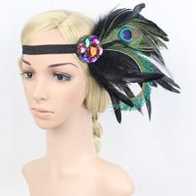 1PC Hair Accessories Women Headbands резинки для волос gumki do wlosow opaska Colorful Feather Stone Carnival Party Headbands #H