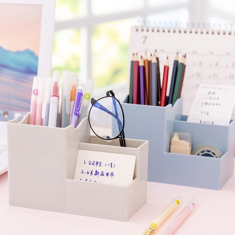 Multi-function Desktop Pen Holder Office School Storage Case Colorful Plastic Box Desk Pen Pencil Organizer Mobile phone bracket