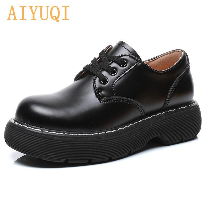 AIYUQI Women's Shoes Platform British Style Genuine Leather Women Martin Shoes Lace Up Fashion Round Toe Shoes Ladies