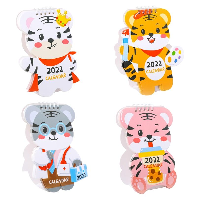 Календарь с мультяшным тигром 2022, милый настольный календарь, ежемесячный календарь, ежедневник, настольный планировщик, органайзер на год...