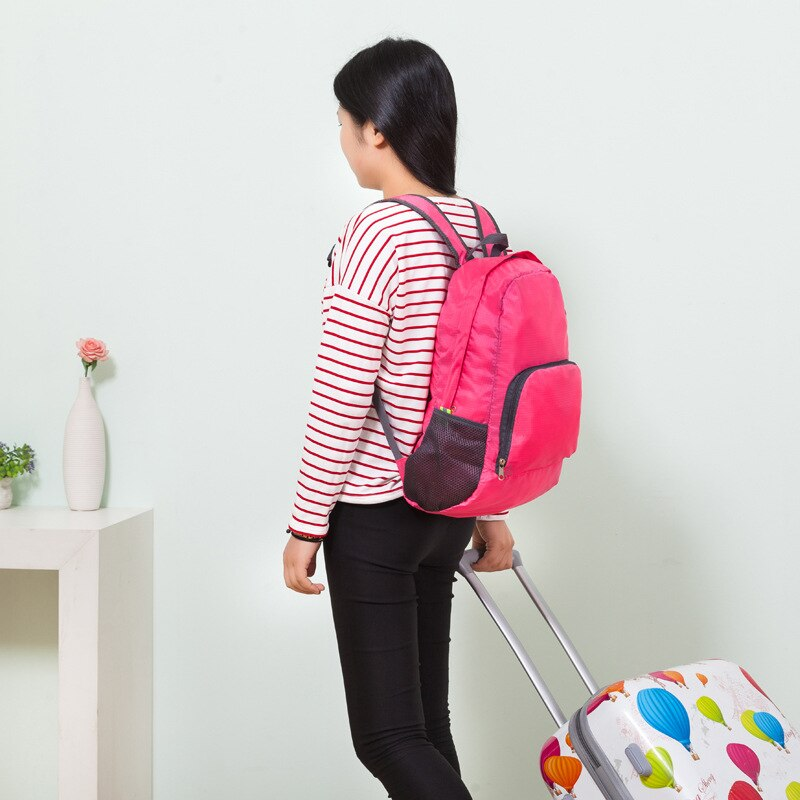 Mochila de viaje para mujer, mochila escolar para hombre, mochila plegable de gran capacidad, mochila de nailon, bolso de hombro ligero