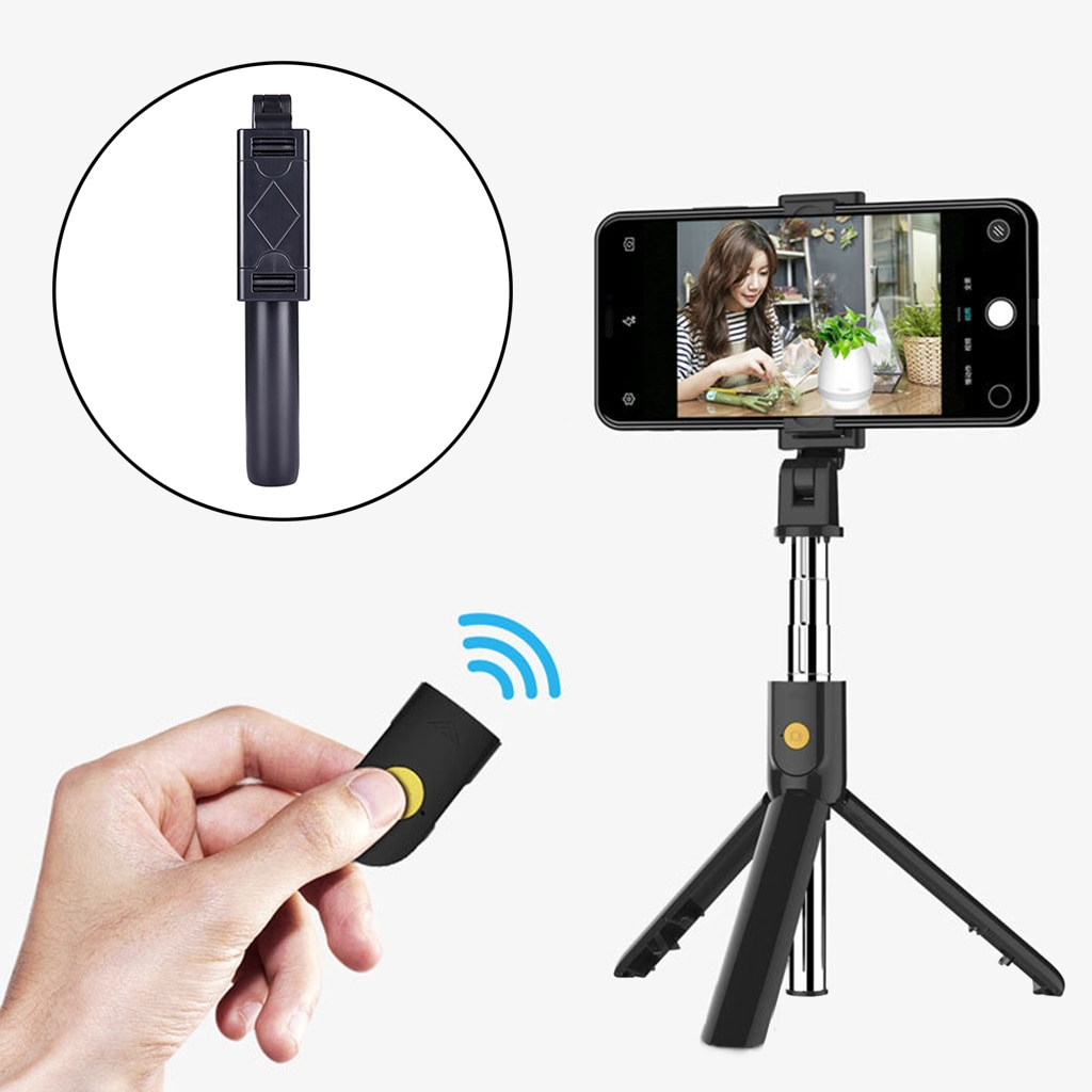 3 em 1 extensível bluetooth remoto sem fio selfie vara monopé tripé titular