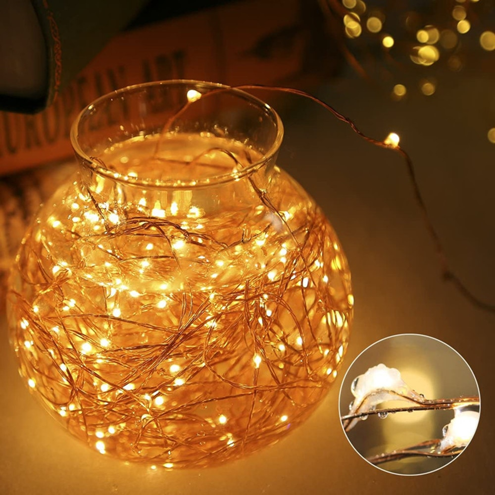 led strip 5m 10m led fairy light string outdoor garland christmas wedding party decoration usb battery operated silver copper Battery Operated LED Fairy Light Outdoor String Garland Lamp Remote Control 5M 10M 20M for Christmas Festival Wedding Decoration
