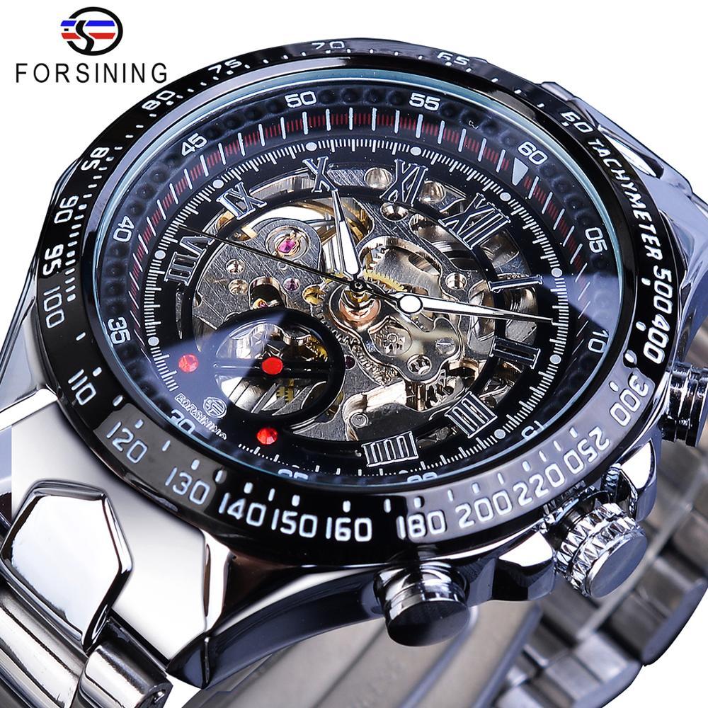 Forsining Transparent Case Open Work Silver Stainless Steel Mechanical Skeleton Sport Wrist Watch Men Top Brand Luxury Clock