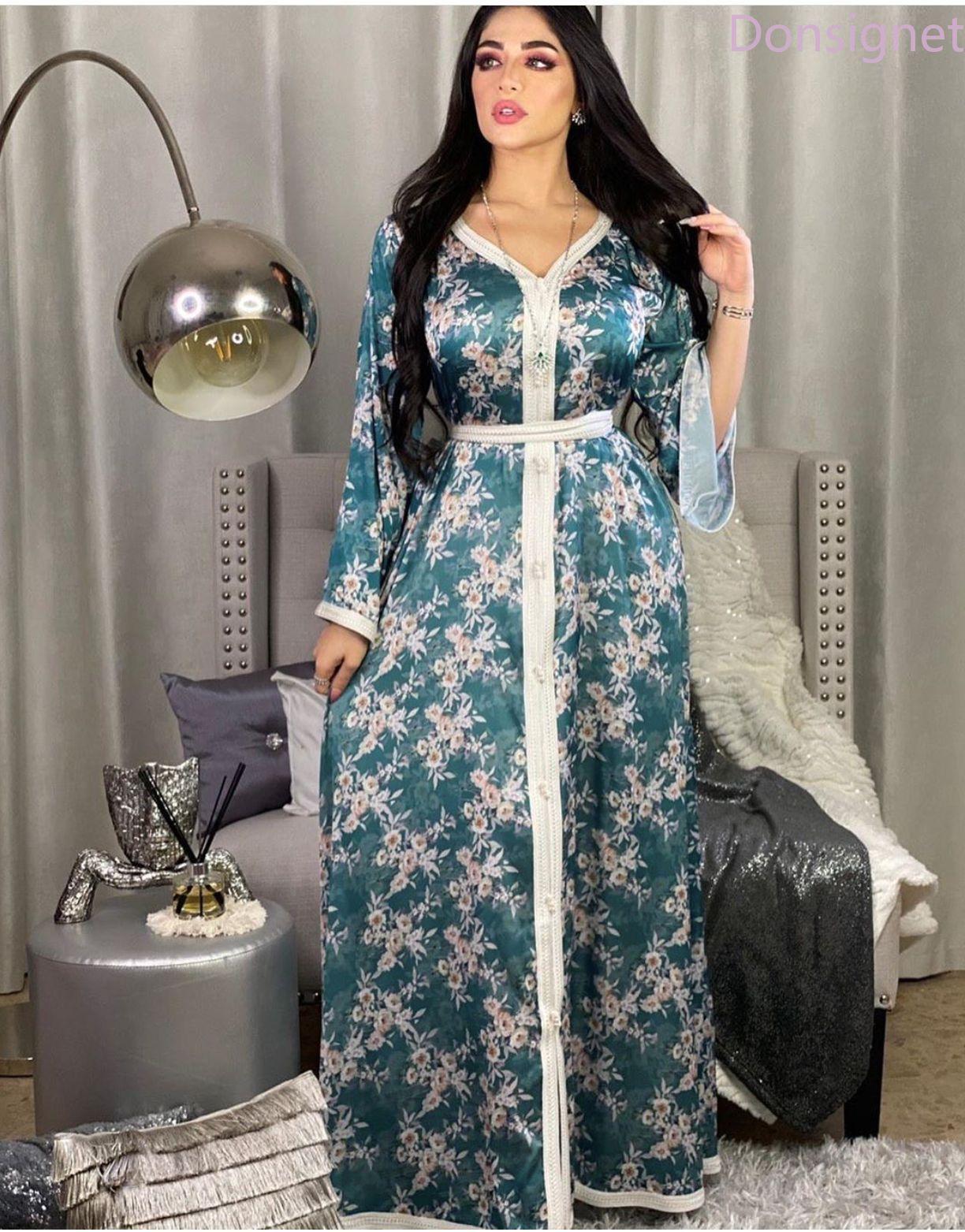 Donsinet-فستان طويل من الدانتيل المطبوع على الطراز الإسلامي ، أزياء إسلامية ، الشرق الأوسط ، دبي ، تركيا ، عباية ، حزام