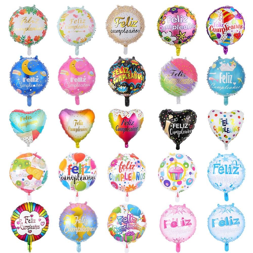 50 Uds., 18 pulgadas, decoración para fiesta de Feliz cumpleaños en español, Globos de aluminio Feliz Cumpleanos, Globos redondos y con forma de corazón, Globos para Baby Shower