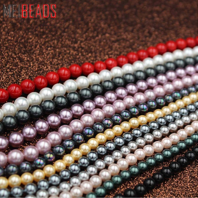 MeiBeads 6mm 30pcs/lot Deep Sea Bead Color Scatter DIY Hand Beaded Bracelets Necklace Accessories Hole Pearl