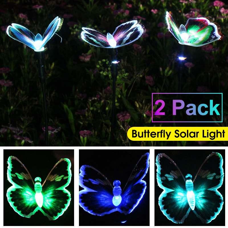 2pcs Colorful Solar Powered Sensor Light LED Lawn Lamp Butterfly Path Light Outdoor Lighting Patio Yard Lamp Garden Decor