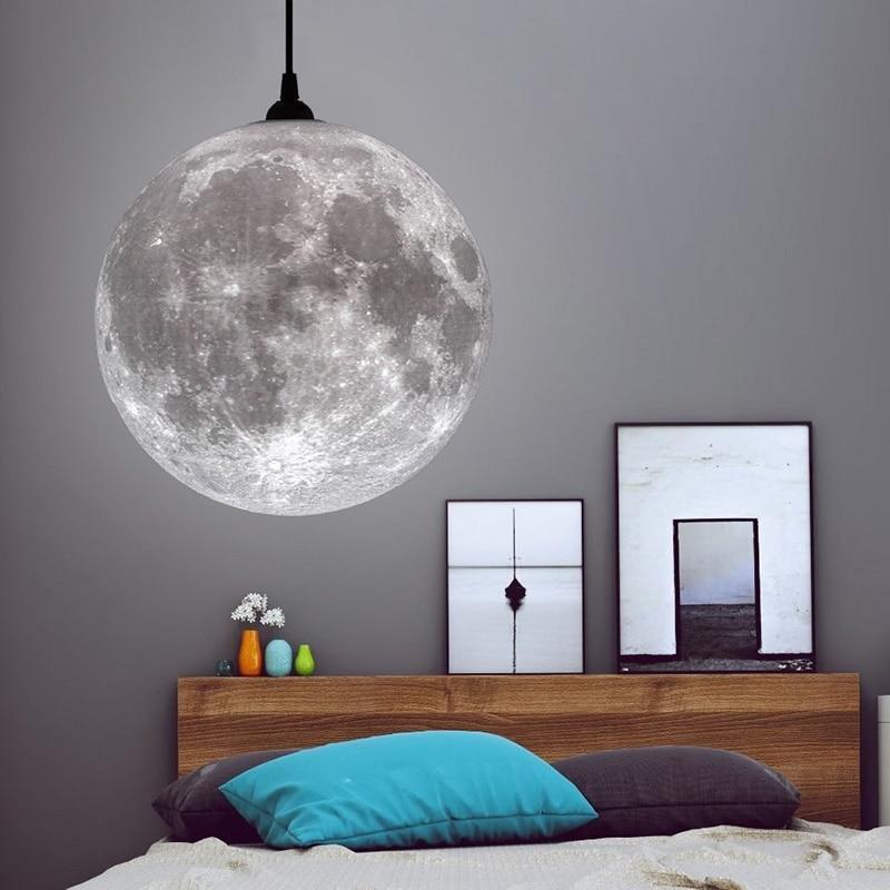 Lámpara de luz nocturna 3D con diseño de Luna colgante, novedad creativa, atmósfera, restaurante/Bar, lámpara colgante de iluminación