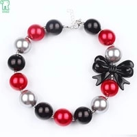 5pcs children red black chunky acrylic pearl bubblegum beads with bow necklace for girl kids