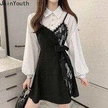 Joinyouth 2020 Spring 2 Pieces Dress Suit Medium-long Bottom Blouse Dresses + Lace Patchwork Bow Tie Sling Vestidos Sets 58520