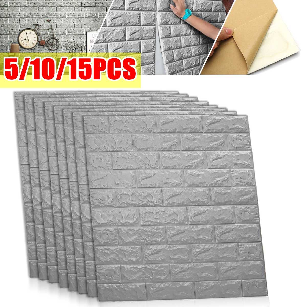 5/10/15 Uds Auto adhesivo impermeable TV Fondo ladrillo papel tapiz 3D pegatina de pared Sala papel tapiz para habitación dormitorio decorativo
