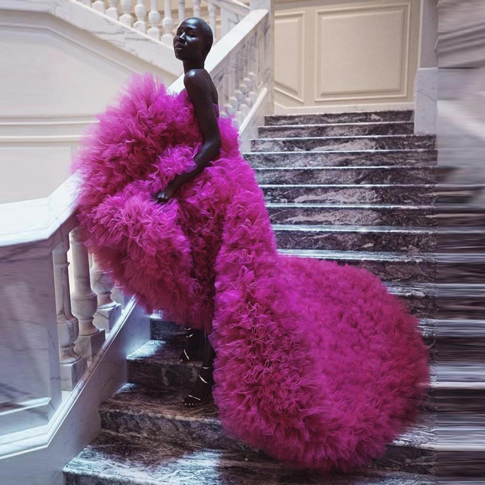 فستان طويل فاخر من التول عالي وفضفاض ، مصنوع حسب الطلب ، بدون حمالات ، لحفلات الكريسماس ، ماكسي ، مقاس كبير للنساء
