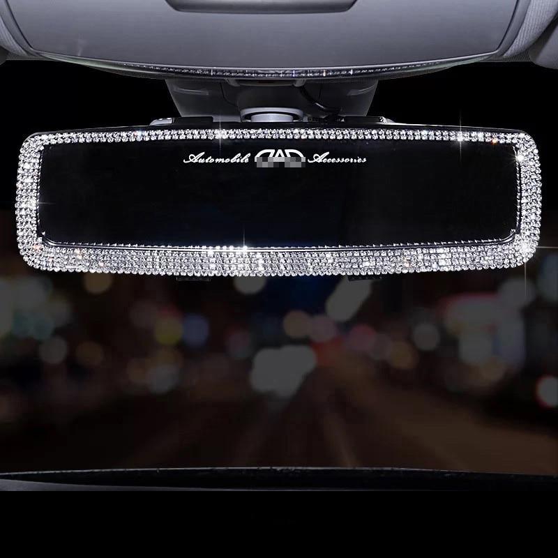 Rhinestone Car Interior Rearview Mirror Decor Charm Crystal Bling Diamond Ornament Rear View Mirror Cover Women Auto Accessories