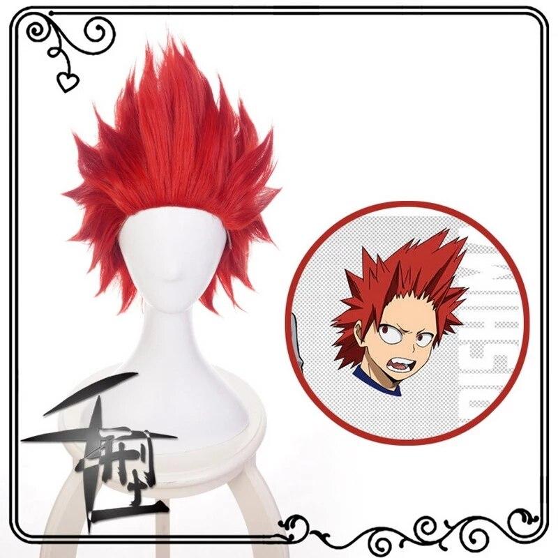CosZtkhp Anime My Hero Academia Kirishima Eijiro Short Red Cosplay Wig Boku no Hero Academia Halloween Costume Synthetic Hair Pe