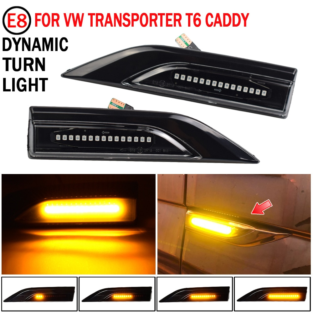 2pcs For VW Volkswagen Transporter T6 Multivan Caddy Led Dynamic Turn Signal Light Side Fender Marker Sequential Blinker Lamp