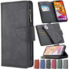PU Leather Zipper Multi-function Light Painted Ultra Wallet Case For iPhone 12 Pro Max 11 Pro SE 2020 X XS Max XR 8/7/6S/6 Plus