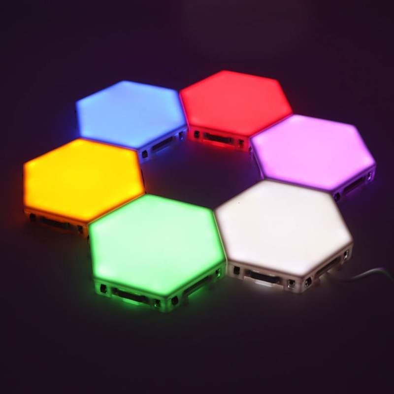 Creative New USB quantum lamp splicing hexagonal wall lamp remote control touch double control colorful wall honeycomb lamp
