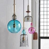 Nordic led trend creative personality pendant light molecule long pipe glass ball Beanstalk pendant lamp