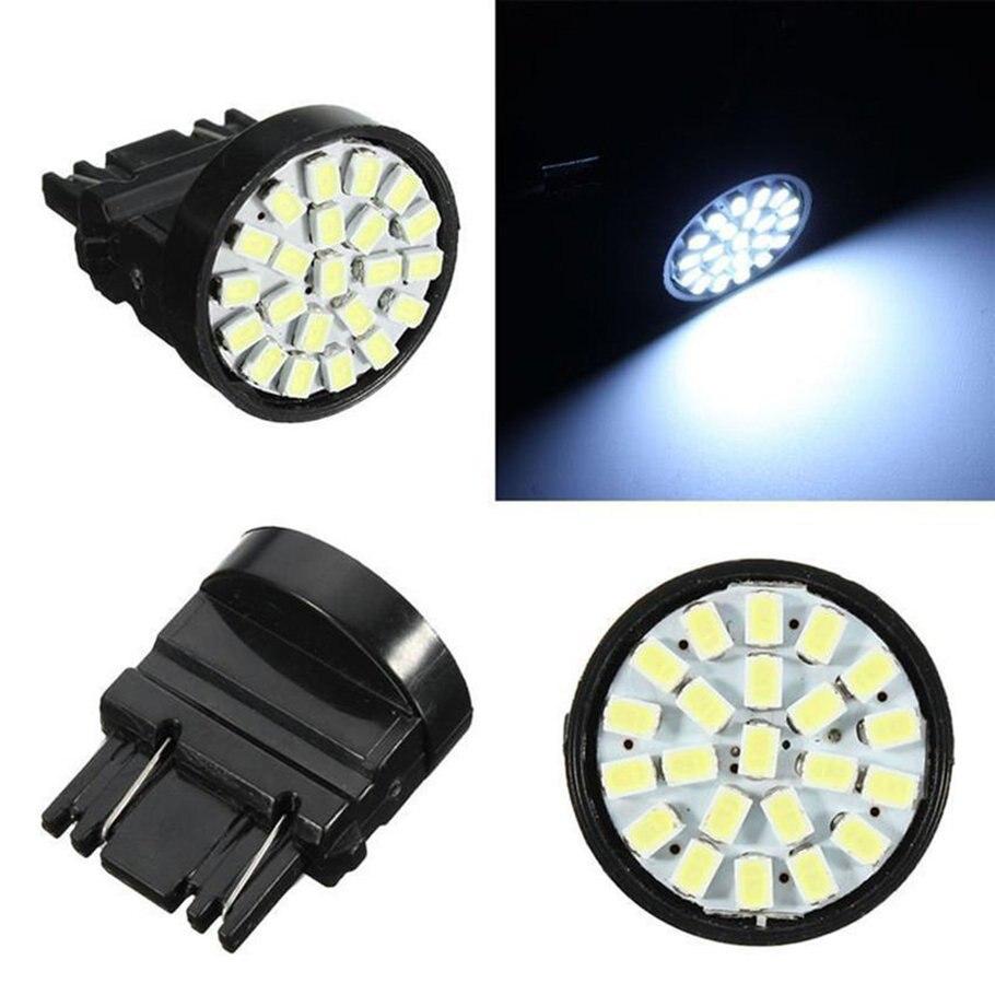 2 piezas de luces Led blancas T25 3157 luz de freno de coche 1206 22SMD 100lm luz de giro de coche 12V LED luces de freno bombilla de coche