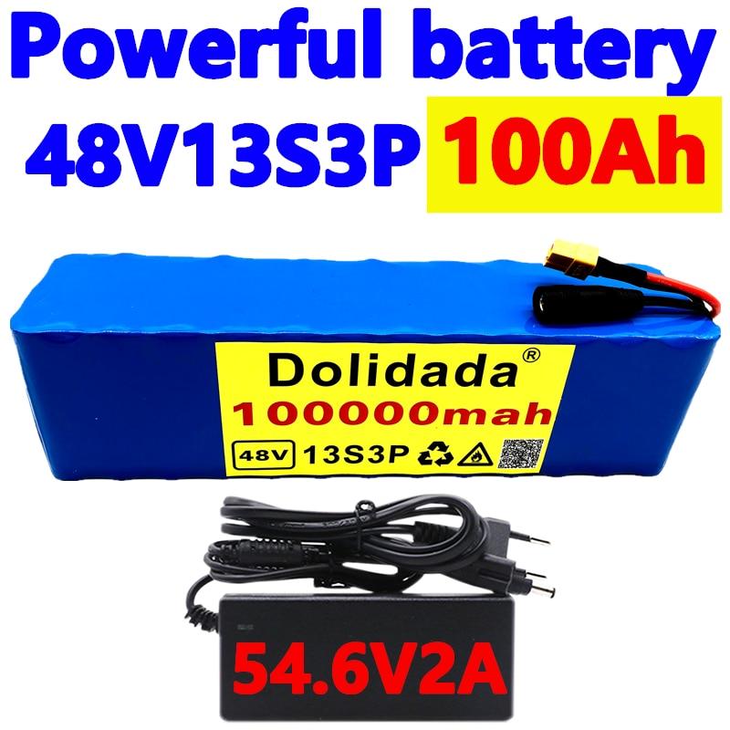48v100 1000 واط 13S3P XT60 48 فولت بطارية أيون الليثيوم حزمة 100000 مللي أمبير ل 54.6 فولت E-دراجة هوائية كهربائية سكوتر مع BMS + شاحن