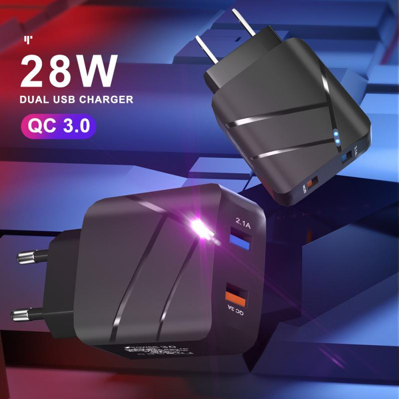 Mobile Phone Charger With Led Light Dual USB Charging Head QC3.0 Fast Charging USB Adapter For Smart