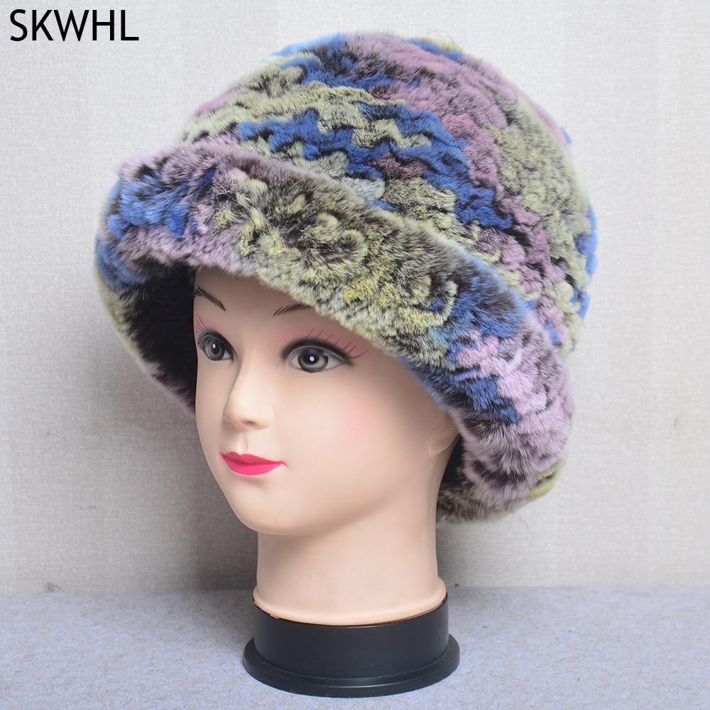 Winter Luxury Women Natural Real Rex Rabbit Fur Hats Beanies Lady Warm Knitted Genuine Fur Caps Russ