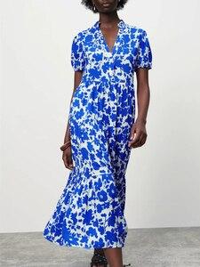 2021 Blue Print Tiered Midi Dresses Women Fashion V-neck Short Sleeve Dress Casual Front Button Pleat Hem Summer Woman Dress