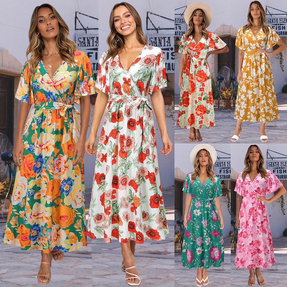 Yg brand women's wear summer 2021 V-neck lotus leaf sleeve floral dress manor leisure gathering president dress