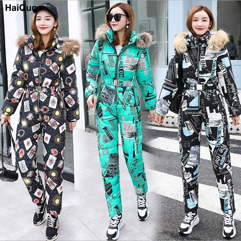 Womens Warm Outdoor Down Cotton Padded Jumpsuits Clothes Leisure Suits New European American Winter Hooded Coat Jacket Trousers enlarge