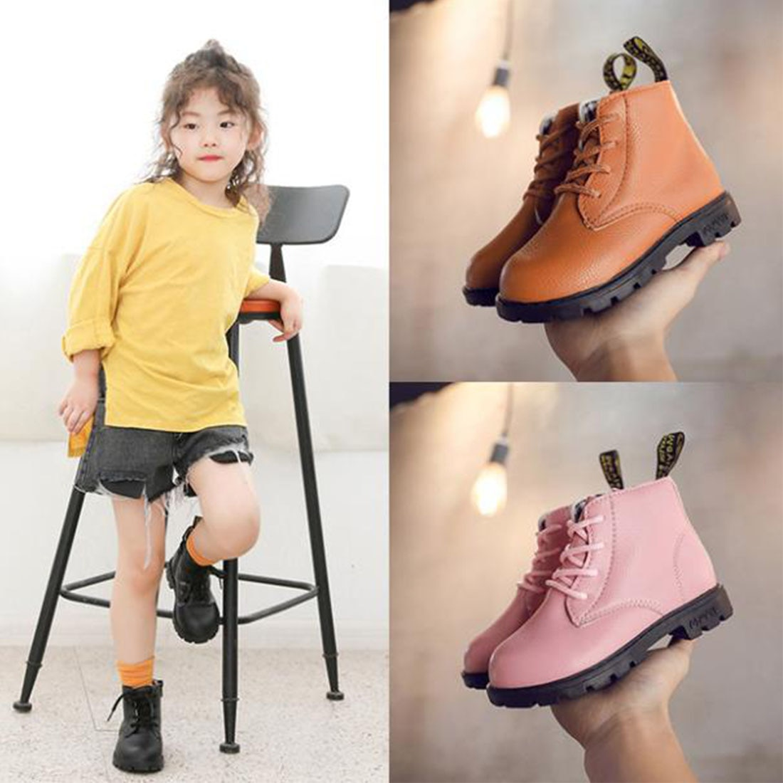 2019 Martin Boots Shoes for Girls Children Warm Fashion Soft Bottom Boys Non-slip Kids Sneakers