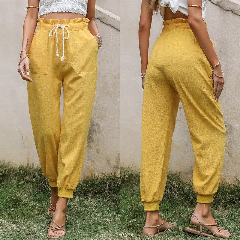Брюки-шаровары женские, женская одежда 2021, брюки, женские брюки с высокой талией, Женские винтажные свободные брюки, женские брюки