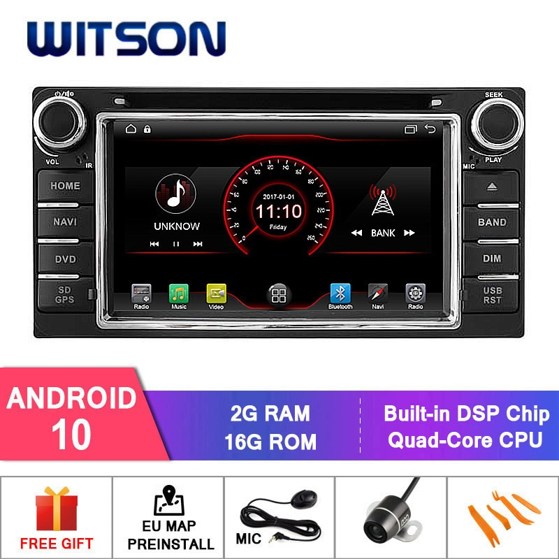 WITSON Android 10. 0 2GB RAM 16GB FLASH RADIO samochodowe dla TOYOTA RAV4 COROLLA VIOS HILUX Terios GPS + DAB + OBD + TPMS + DVR obsługiwane