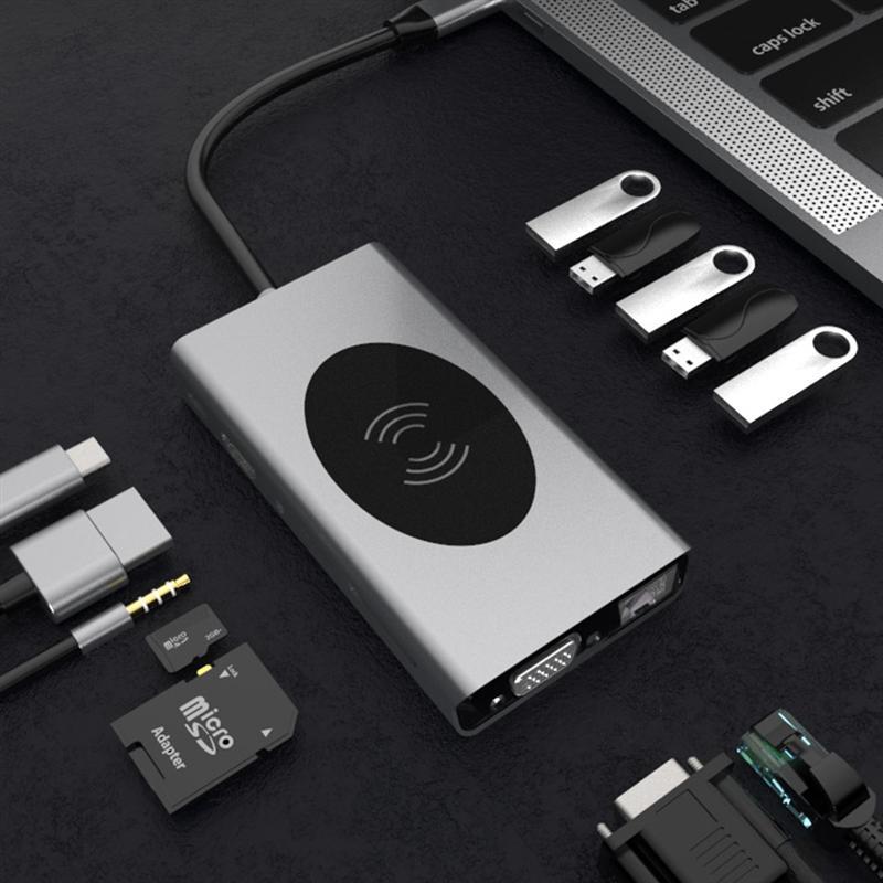 1PC RJ45 de Audio Docking estación Hub de carga rápida Hub Adaptador tipo-c a HDMI USB 3,0 Hub tipo creativo-c HDMI concentrador VGA de puerto