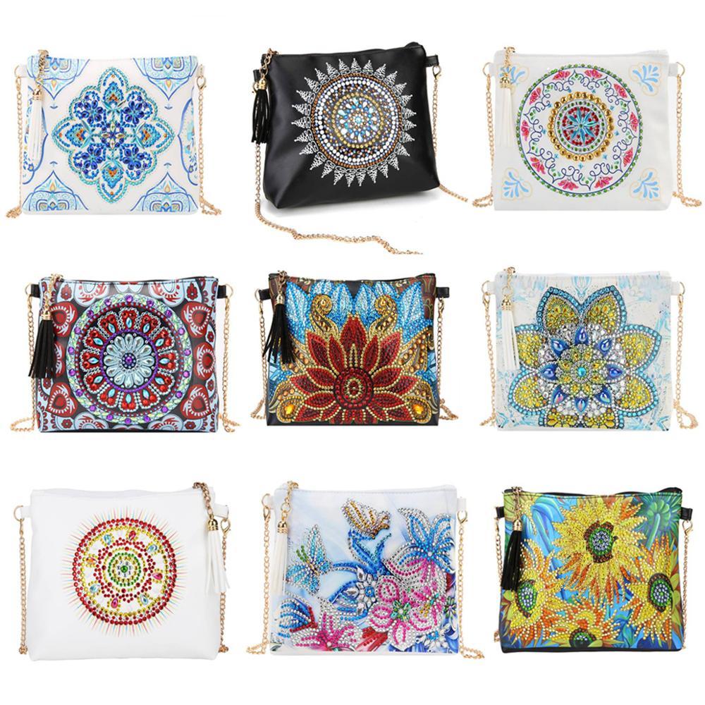 5D diamante pintura Mandala flor bolso DIY cuero Crossbody cadena bolsa cartera bolsa de almacenamiento bolsa de cosméticos